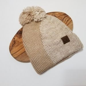 two toned knit pom beanie lined soft comfy tan